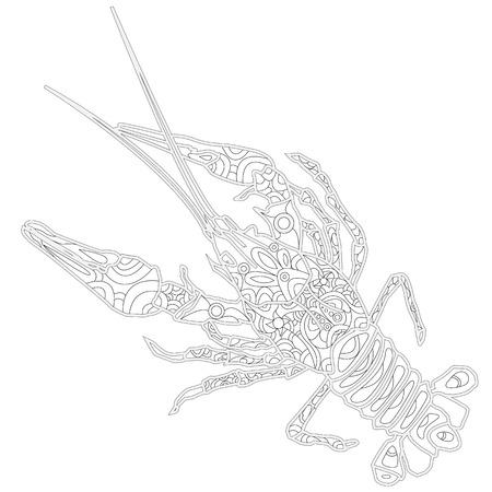 Lobster line art design for coloring book.  Ornate zentangle crawfish drawing. Illustration