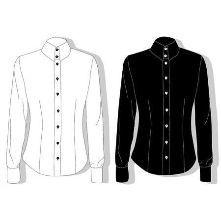 Dress shirt female. Clothes collection. Vector illustration.