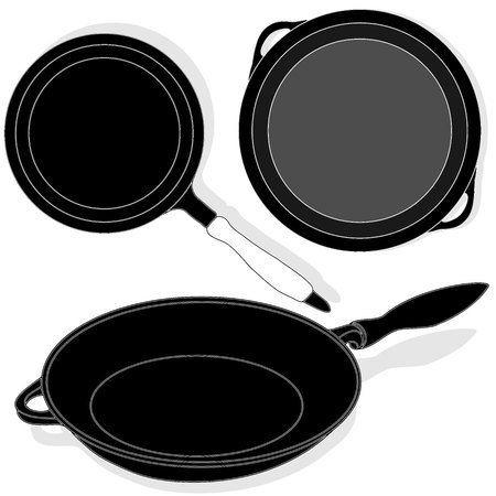 browning: Frying pan, vector isolated set