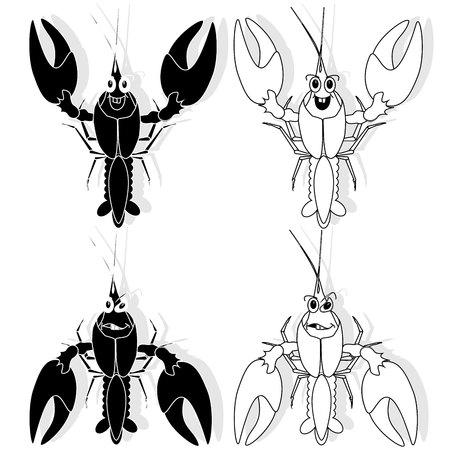crayfish vector isolated white background