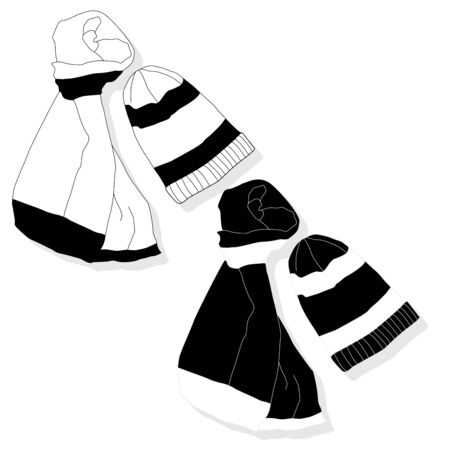 winter hat and scarf set isolated