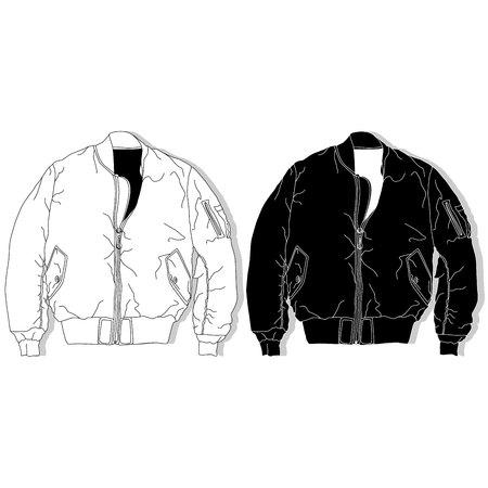 Pilot jacket. Bomber. Fashion illustration. Illustration