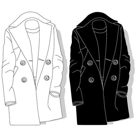 Female coat. Fashion  clothes illustration. Illustration