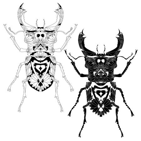 Escarabajo. Mano Boceto Dibujado De La Página Adulta Libro Para ...