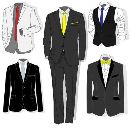 office wear: Mens jacket. Ceremonial mens suit, tuxedo. Accessories set. Vector illustration.