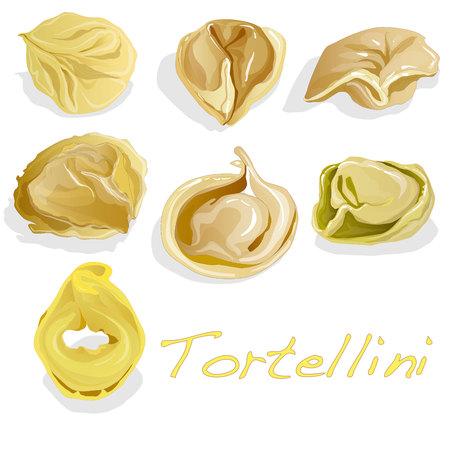 Tortellini Italian illustration isolated set Illustration