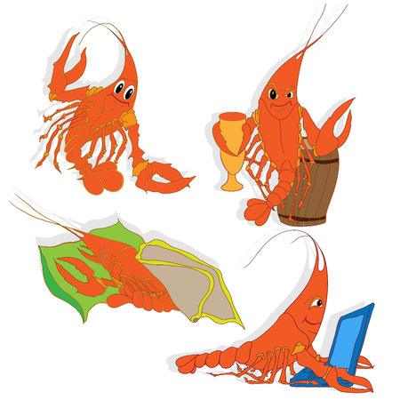 crawfish: Shrimp illustration set. Vector art.