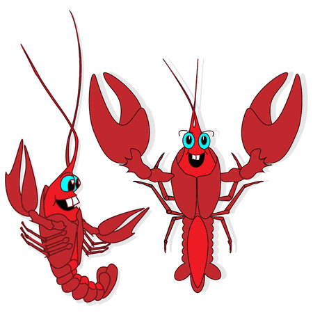 Crayfish illustration set. Vector art.