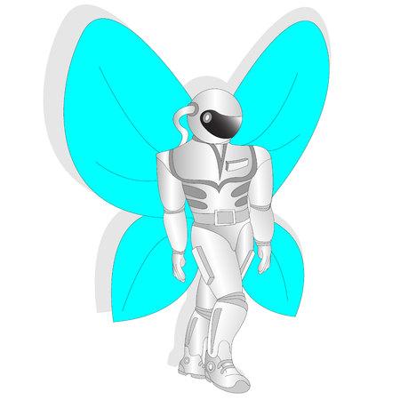 우주 비행사, 나비 날개를 가진 우주 비행사의 벡터 일러스트 레이션