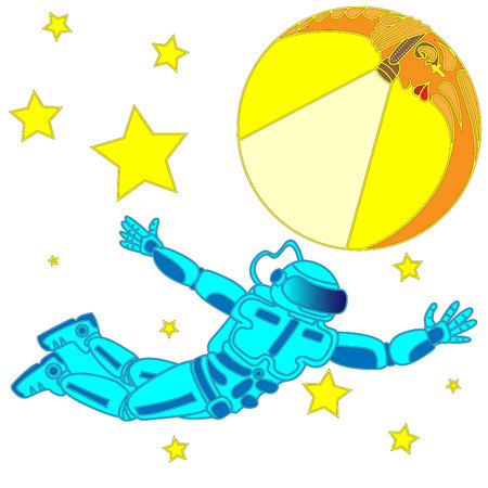 Spaceman and crescent moon. Space explorer. Cosmic illustration for T-shirt disign Illustration
