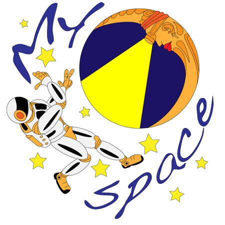Spaceman and crescent moon. Space explorer. Cosmic illustration for T-shirt design Illustration