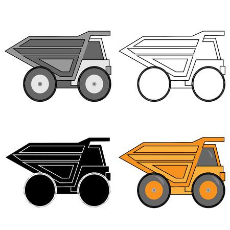 Mining tipper truck. Vector illustration in flat style design Illustration