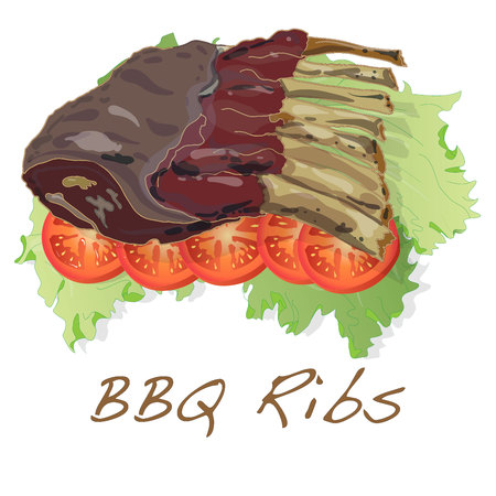 BBQ ribs with tomato and salad illustration