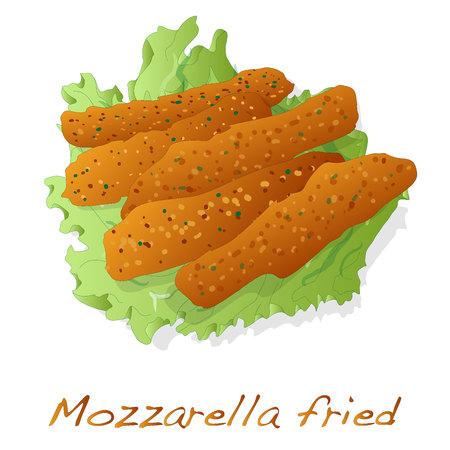 Mozzarella fried illustration isolated