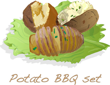 Potato BBQ illustration isolated set. Illustration