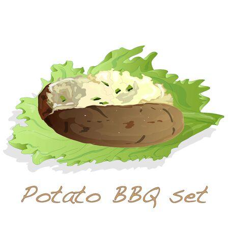 Potato BBQ illustration isolated set. Illustration
