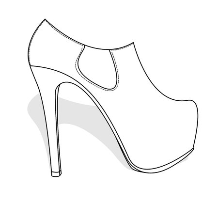 A fashionable womanish shoes isolated on a white background. Illustration
