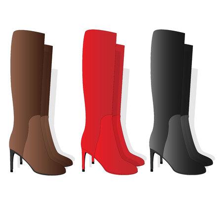 Hohe weibliche Stiefel, getrennt auf weißem Hintergrund Standard-Bild - 87340924