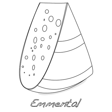 A piece of emmental cheese on white background. Dairy product, attribute of healthy eating, fitness menu.
