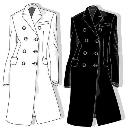Female coat illustration isolated on white.fashion collection.