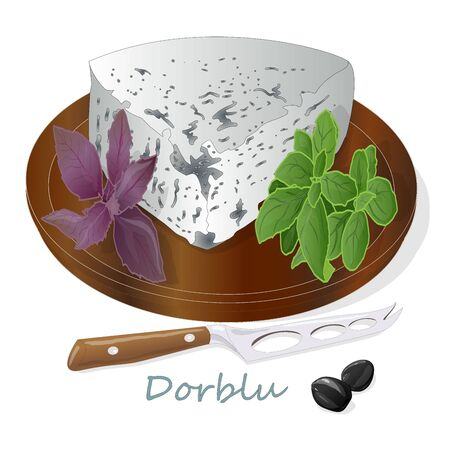 Blue cheese collection - dorblu illustration isolated