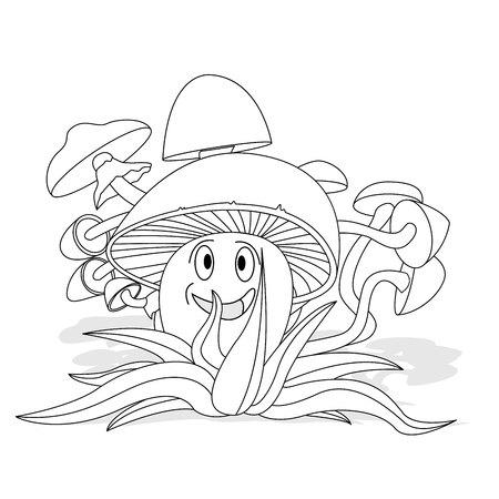 Mushrooms illustration set on white isolated on white 일러스트