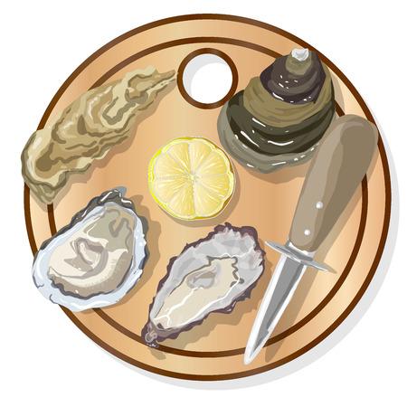 Fresh oysters, lemon and wine isolated on white background Illustration