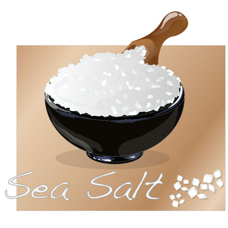Sea salt in ceramic bowl for cooking or spa, isolated on white background.