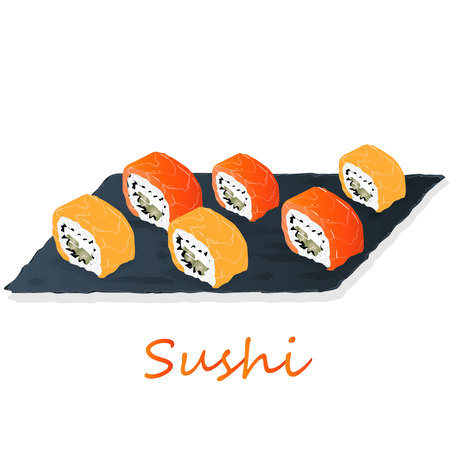 Illustration of roll sushi with salmon, prawn, avocado, cream cheese. Sushi menu. Japanese food isolated on white.