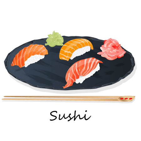 Illustration of roll sushi with salmon, prawn, avocado, cream cheese. Sushi menu, Japanese food isolated on white background.