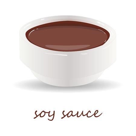 Dish of soy sauce illustration isolated on white background.