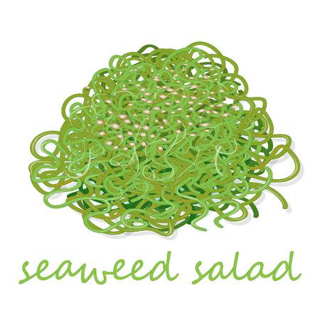 Traditional Japanese Chuka seaweed salad illustration isolated on white.