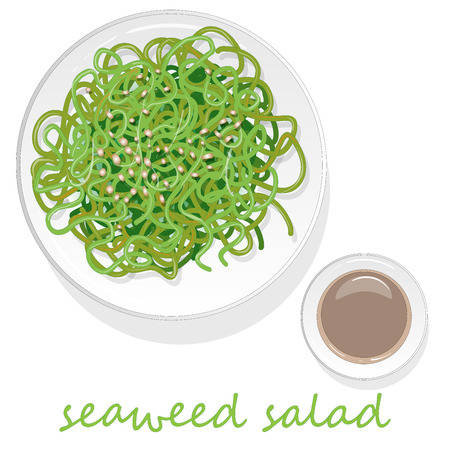 Traditional Japanese chuka seaweed salad illustration isolated on white background.