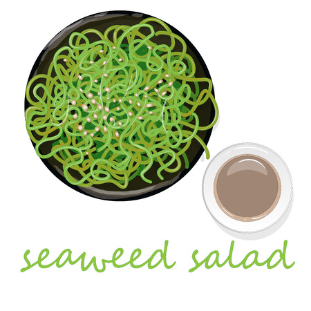 Traditional Japanese chuka seaweed salad illustration isolated on white background.
