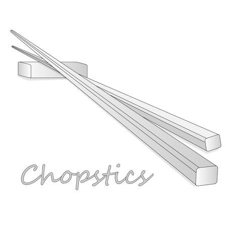 Wooden chopsticks isolated on white background illustration set