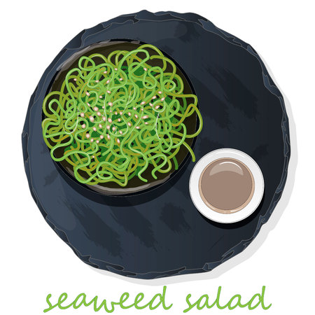 Sushi and seaweed salad on slate table vector illustration isolated.