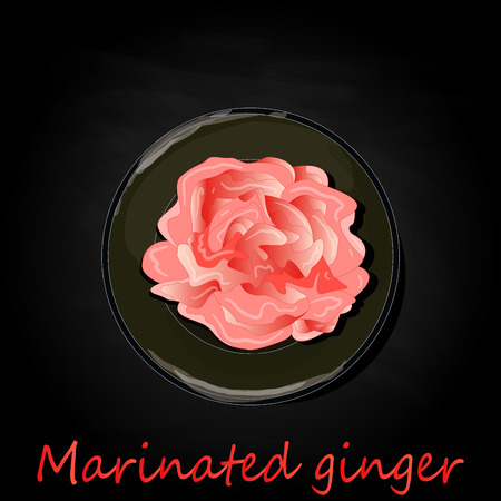 Marinated ginger slices illustration  isolated on black