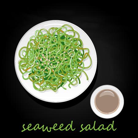 Traditional Japanese Chuka seaweed salad illustration isolated on black