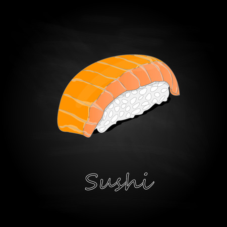 Nigiri Sushi illustration on dark background isolated