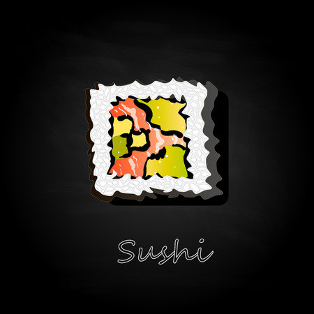 Nigiri Sushi illustration on dark background isolated. Top view. 向量圖像