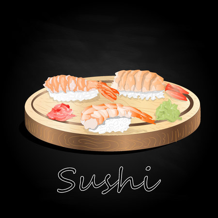 Various kinds of sushi served on wood desk black background isolated.