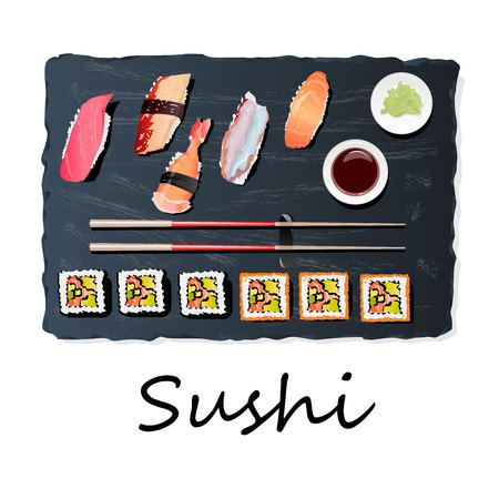 Nigiri Sush seti illustration isolated. Top view. 向量圖像