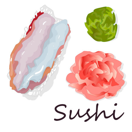 Sushi set  isolated on white. Top view.