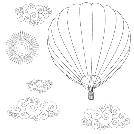 Balloon. Coloring image of hot air balloon in the sky. Vector illustration.