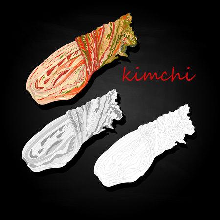 Kimchi, traditional korean food. Illustration on black