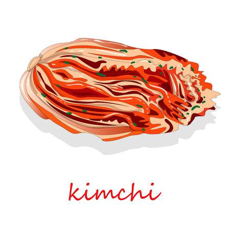 Kimchi, cuisine traditionnelle coréenne. Illustration sur blanc. Vecteurs