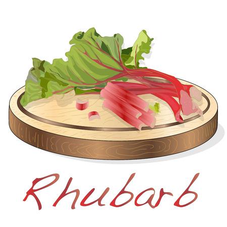 Fresh rhubarb. Rhubarb leavs on wood desk  isolated. Vector Illustration.