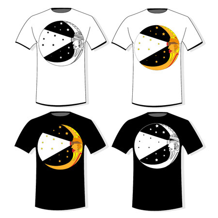 Typography print for t-shirts, hoodies. Isolated. Vector illustration.Moon.