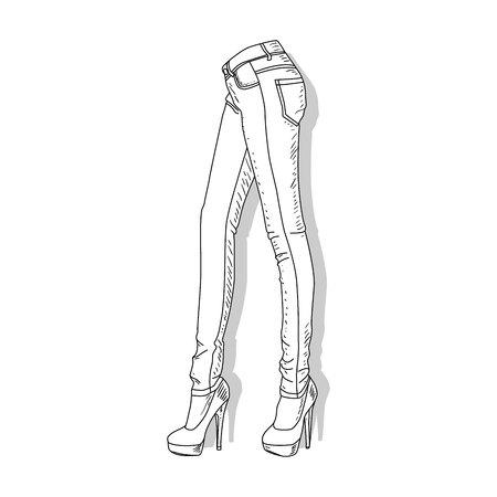 Female jeans. Vector illustration of female jeans isolated on white. Vektoros illusztráció