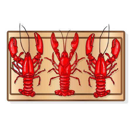 Crayfish set on dish vector illustration on a white background. Ilustração